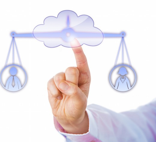Index finger of a business manager touching a cloud symbol to access a virtual balance. The weighing scale is keeping a male and a female worker in temporary equilibrium. Cutout on white background.